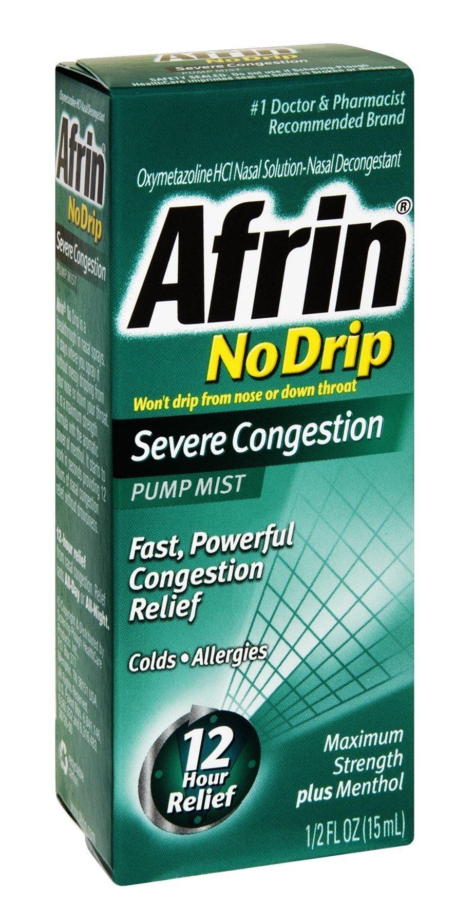 Afrin 12 Hour No Drip Severe Pump Mist, Pack of 18