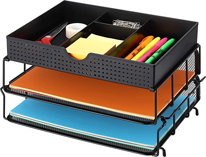 CAXXA 2 Trays Stackable Letter Tray, Desk File Organizer, Desktop Paper Tray Holder with Drawer, Black