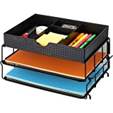 CAXXA Stackable Mesh Office Desk Supplies Organizer, Desktop File Letter Tray Holder, Black (2 Pack with Drawer)