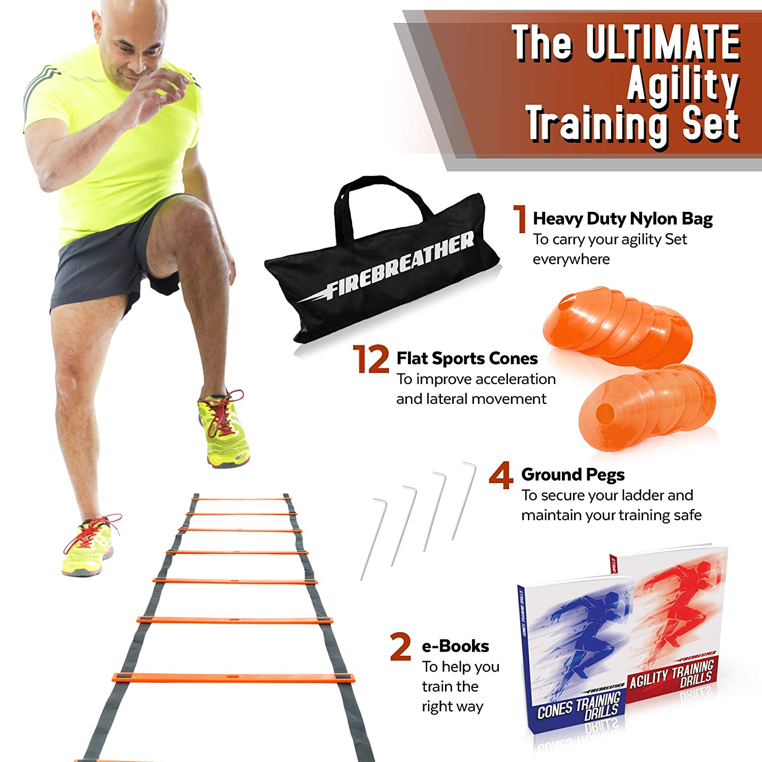 Great Training Equipment to Exercise Speed in Soccer Football /& Sports Workout Agility Ladder and Cones by FireBreather 4 Pegs 12 Markers Carrying Bag /& Drills Ebook Set of 15ft Ladder