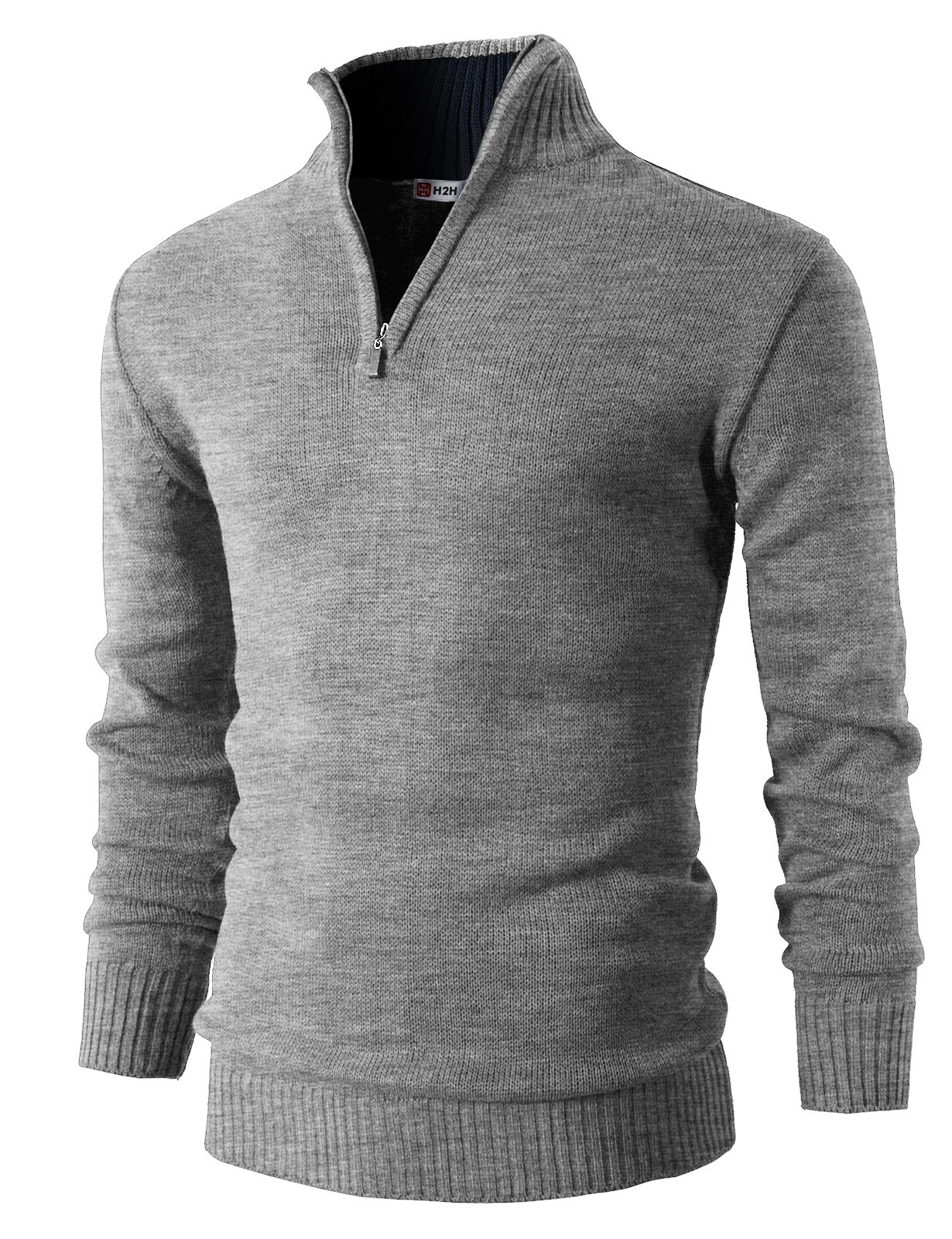 H2H Mens Casual Basic Pullover Sweater of Neck Zipper GRAY US L/Asia XL (KMOSWL021)