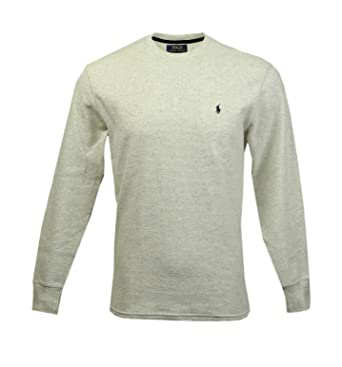 Shirts Grey Polo Waffle Shirt Thermal Men Size Large Long Sleeves Pre-owned Good Clothing, Shoes & Accessories