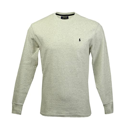 Polo Ralph Lauren Mens Long-sleeved T-shirt   Sleepwear   Thermal in Heathered  Oatmeal, Black Pony (Medium   M) at Amazon Men s Clothing store  Fashion T  ... 9e3672ea7ee0
