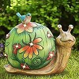 Garden Statue Snail Figurine - Solar Powered Resin Animal Sculpture, Outdoor Fall Decorations, Patio Lawn Yard Art Decor, 10