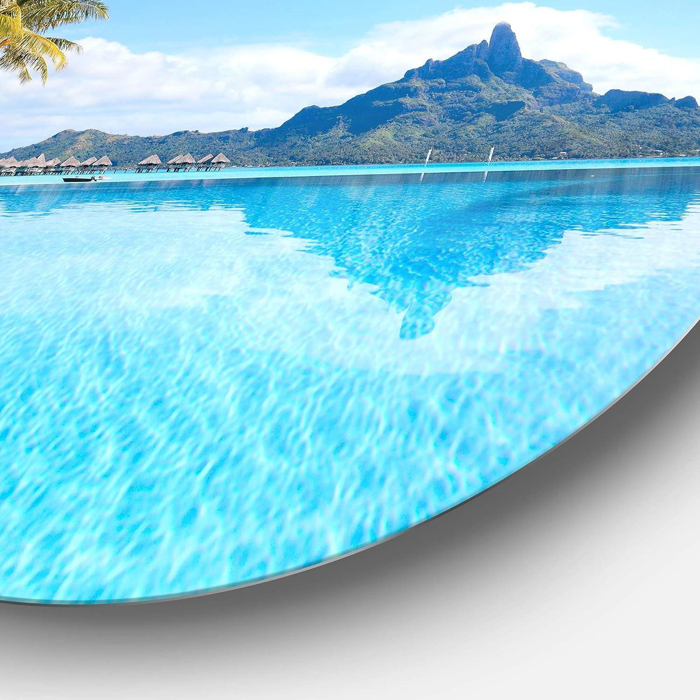 38 x 38 Designart Bora Bora Landscape Photography Metal Artwork Green//Blue