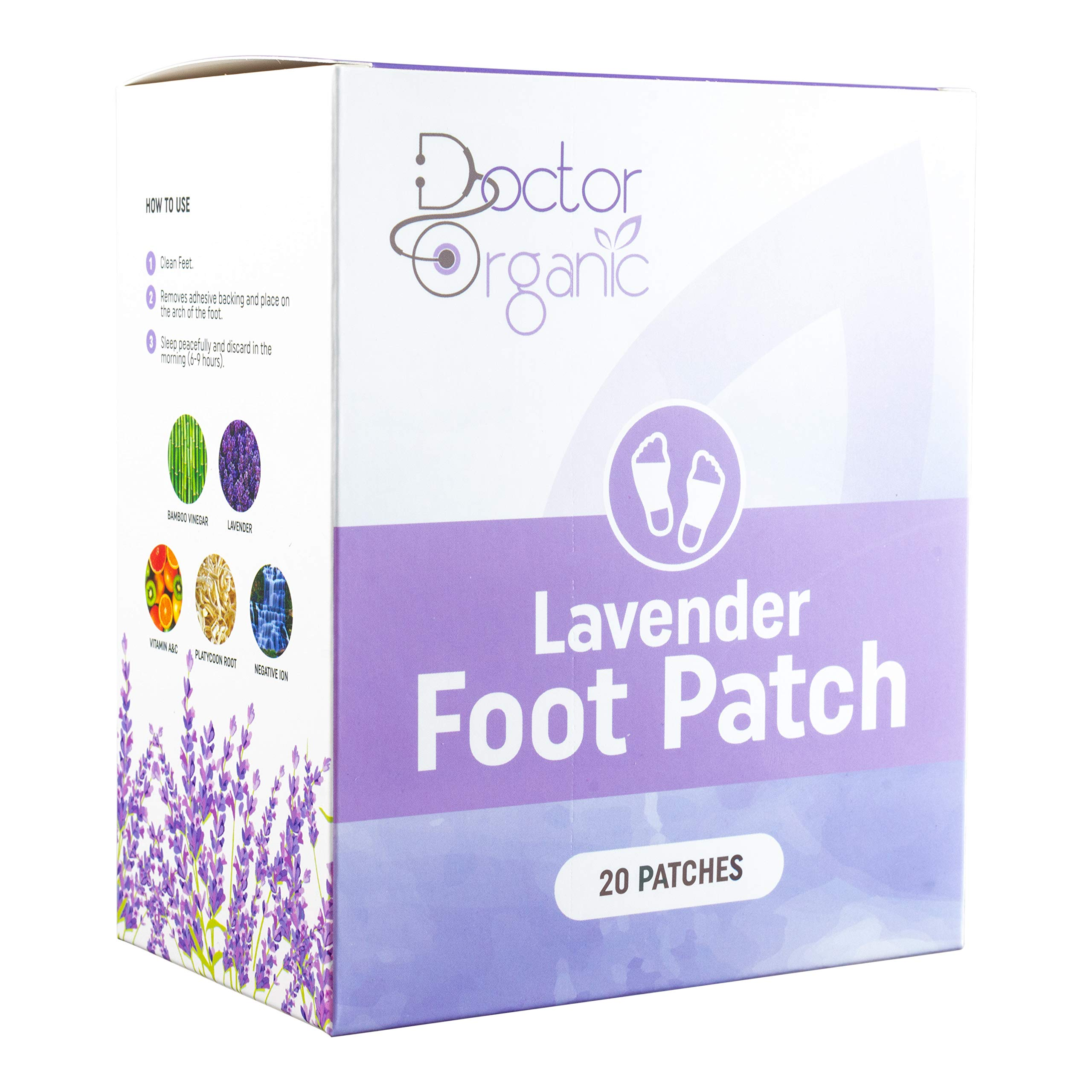 Foot Pads by Doctor Organic – Patches with Woven Cloth Design to Prevent Patch from Coming Off at Night - Bamboo Vinegar with Lavender Scent - Naturally Derived Ingredients by Doctor Organic