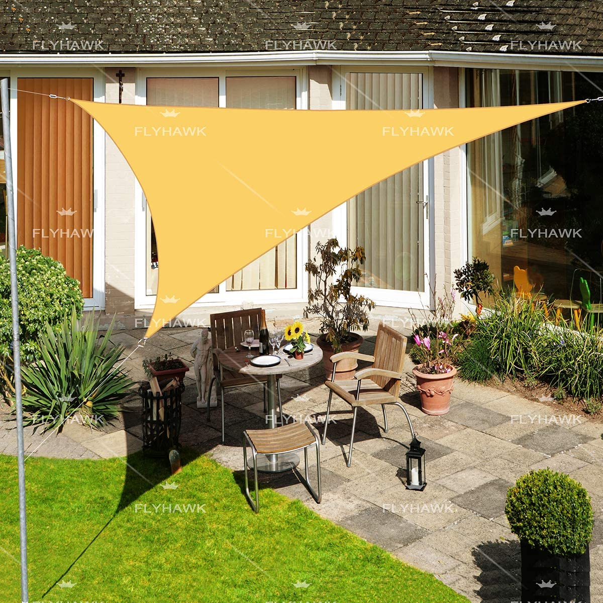 FLY HAWK Sun Shade Sail Triangle, 12 x12 x12 Patio Sunshade Cover Canopy – Durable Fabric Cloth for Outdoor Garden Yard Porch Pergola Driveway – Sand Color