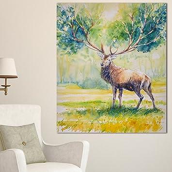 Amazon.com: Designart MT13282-30-40 Deer with Blue Horn - Animal ...