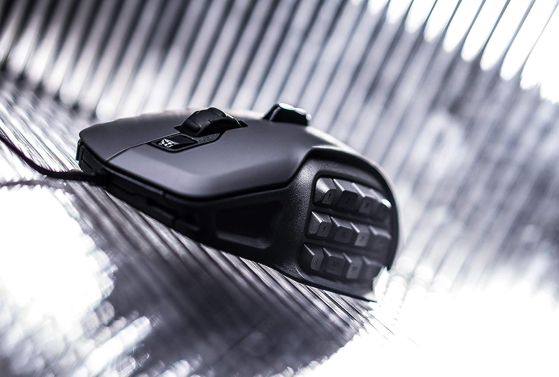 ROCCAT Nyth Modular MMO Gaming Laser-Maus 12000dpi, austauschbare Daumentasten und Seitenteile grau//schwarz