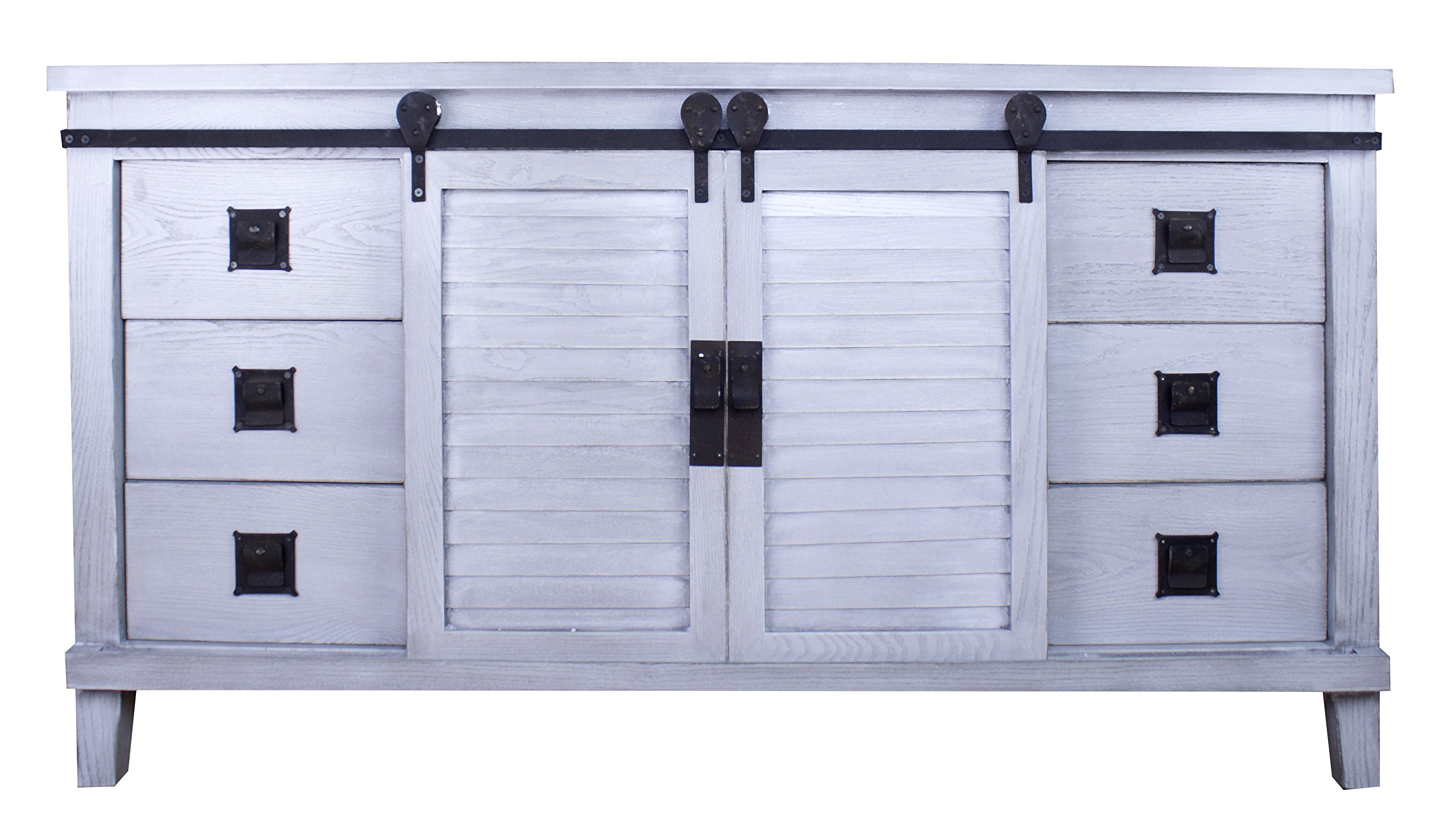 Heather Ann Creations Southport Collection Country Style Accent Cabinet, 6 Drawer, 2 Barn Door, Distressed Grey Wash