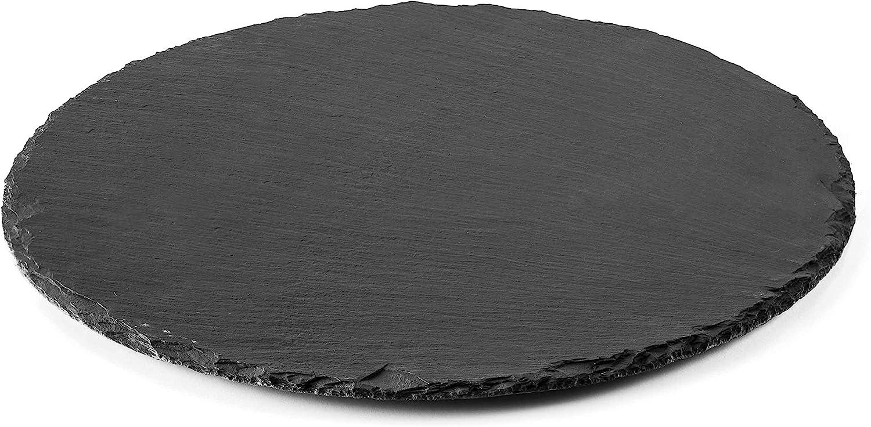 Lacor Bandeja Redonda, Pizarra, Negro Ceniza, 25 cm