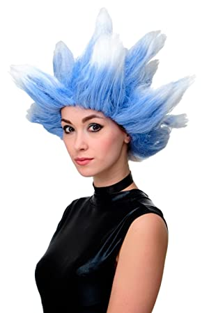 WIG ME UP ® - LM19-PC3TP60 Peluca Carnaval Polar Norte Color Azul-Blanco