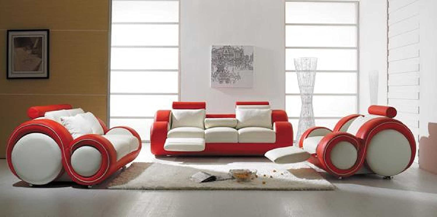 Amazon.com: Vig Furniture T 27 - Contemporary White And Red Leather ...