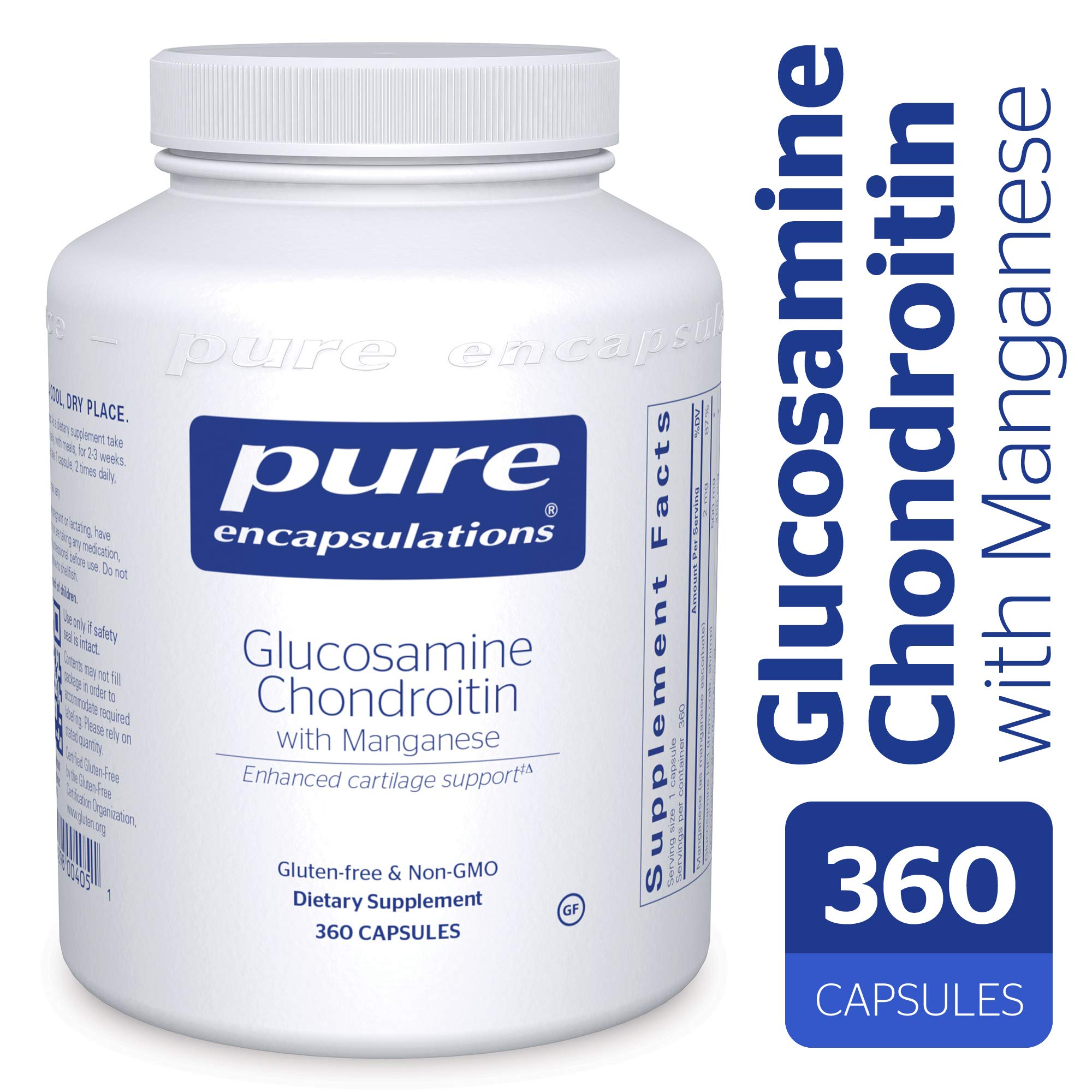 Pure Encapsulations - Glucosamine + Chondroitin with Manganese - Enhanced Cartilage Synthesis and Antioxidant Support* - 360 Capsules