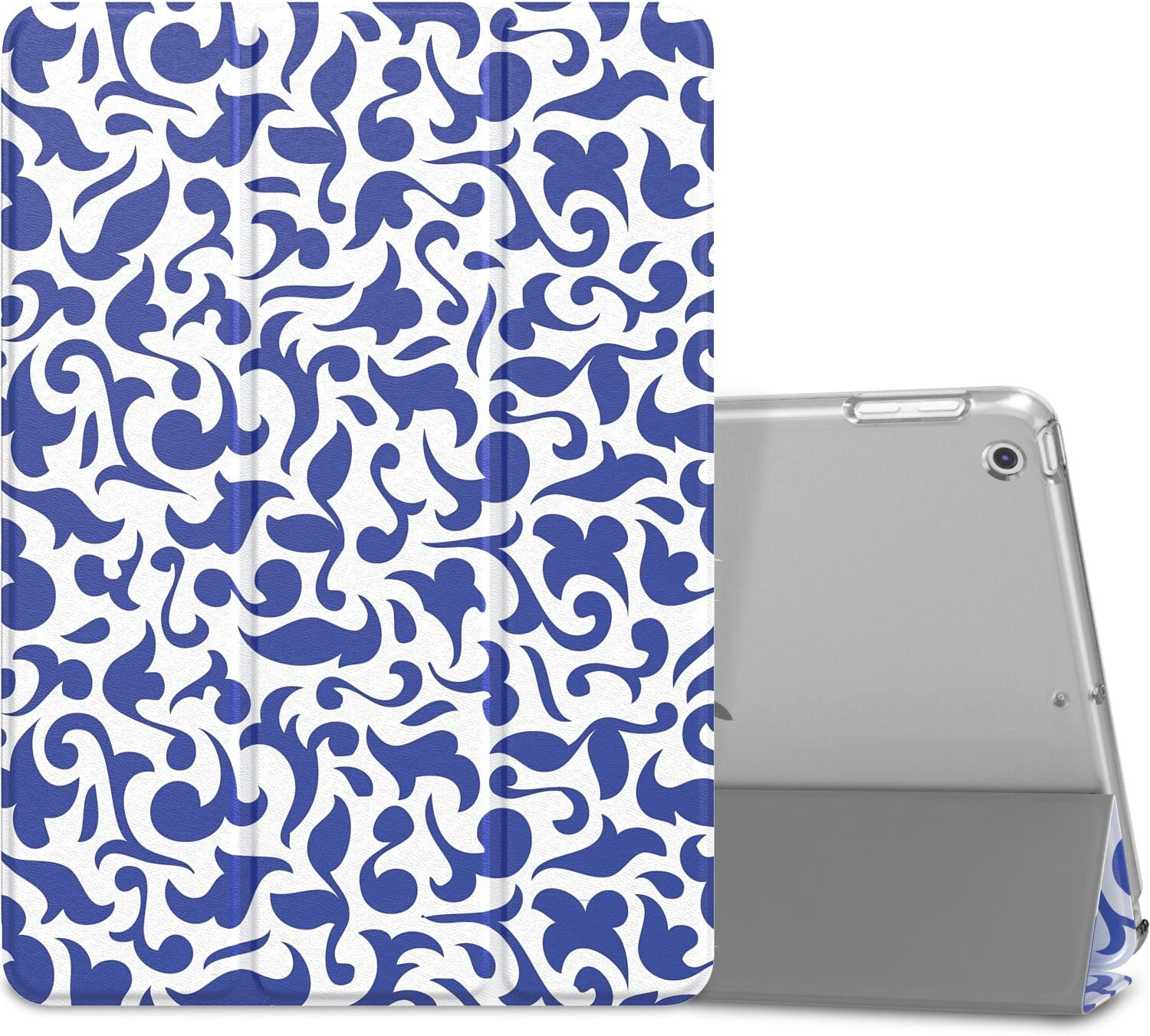 "MoKo Case Fit 2018/2017 iPad 9.7 6th/5th Generation - Slim Lightweight Smart Shell Stand Cover with Translucent Frosted Back Protector Fit iPad 9.7"" 2018/2017, Blue & White Porcelain(Auto Wake/Sleep)"