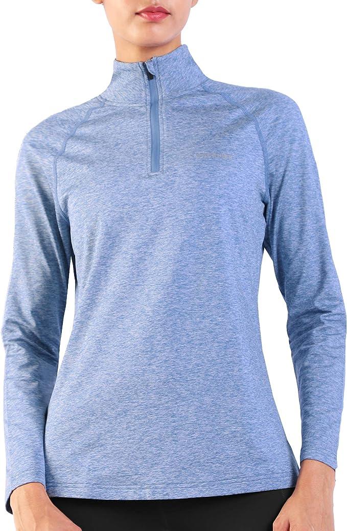 Ogeenier Womens Quarter Zip Sports Jacket Thermal Top Fleece Lined Long Sleeve Running Yoga Workout Top