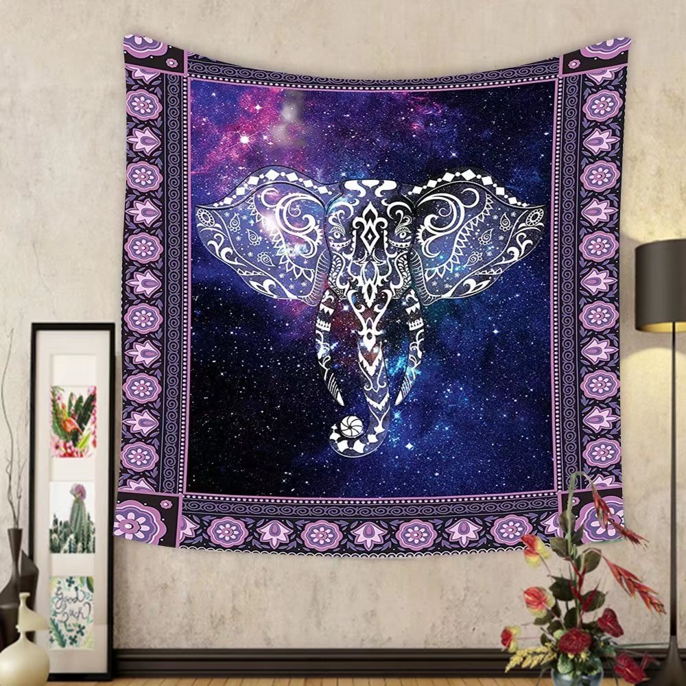 Gzhihine Custom tapestry Animal Tapestry Decor Elephant in a Frame on Outer Space Galaxy Stars Andromeda Background Art Print for Bedroom Living Room Dorm Mauve Purple