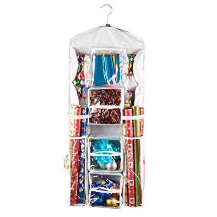 CARRIEBAX Double Sided Wrapping Paper Storage   For 40 Inch Gift Wrap Rolls    Easy Hanging Closet Gift ...