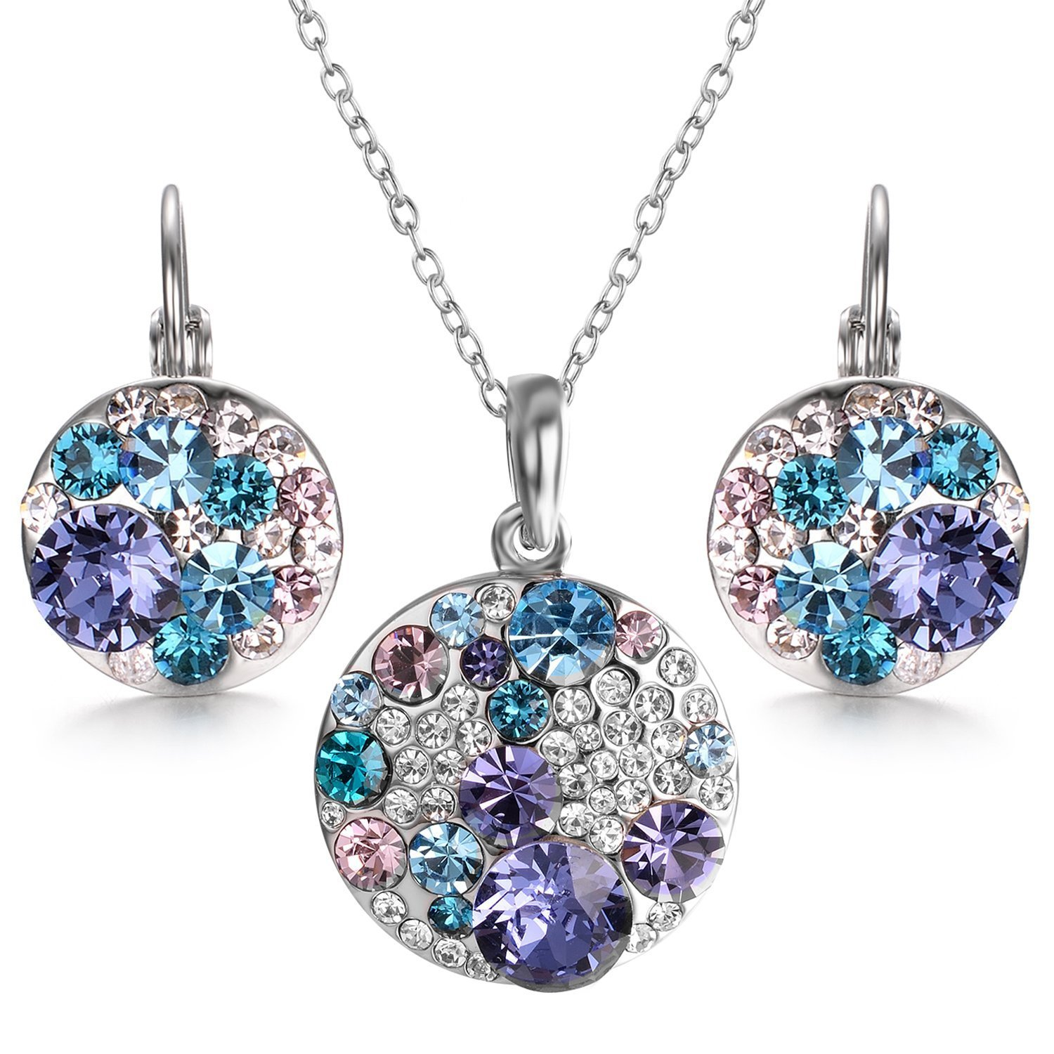 Yoursfs Ocean Bubble Crystals Multi-Stone Round Disc Pendant Necklace Leverback Earrings Women