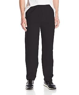 Hanes Men's Ecosmart Open Leg Fleece Pant with Pockets, Black, XL