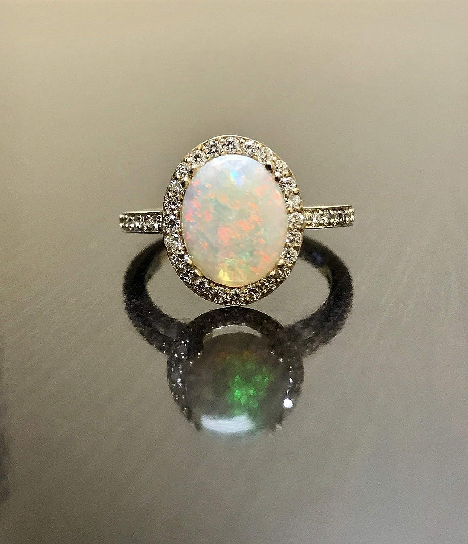 Amazon Com 14k Yellow Gold Halo Diamond Opal Engagement Ring Australian Opal Halo Diamond Wedding Ring Handmade