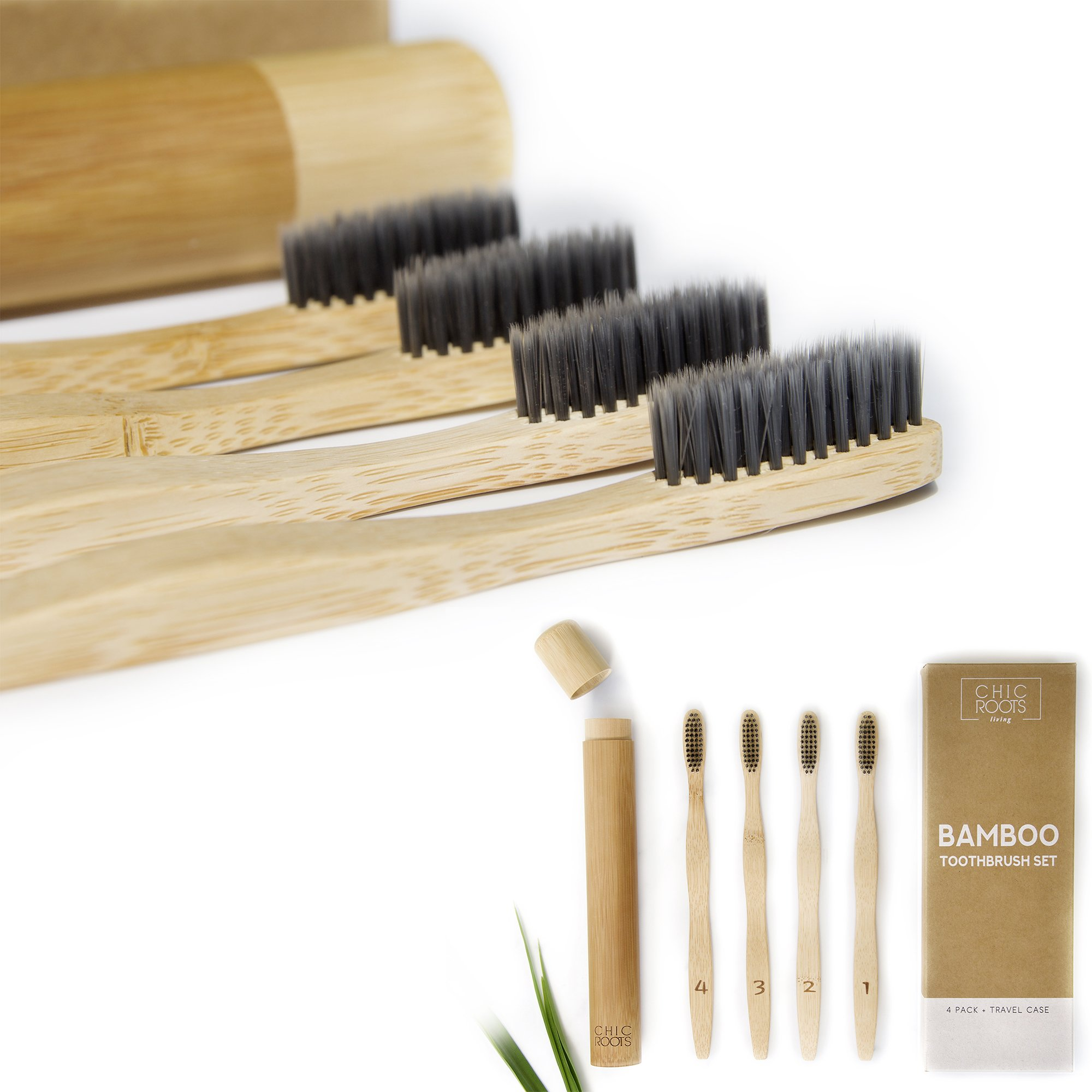Bamboo Toothbrush Set - 4 pack + Travel Case - Soft Charcoal Bristles for Sensitive Gums - Zero Waste packaging