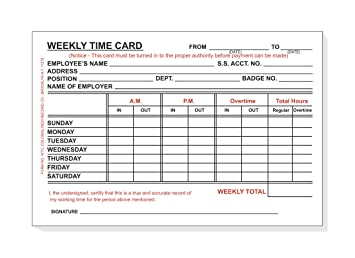weekly time card