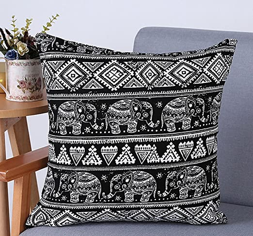 Cotton Linen Southeast Asia Bohemian Diamond Geometric Pattern Boho Elephant Grey Square Throw Pillow Covers Cushion Cover Decorative Sofa Bedroom Living Room