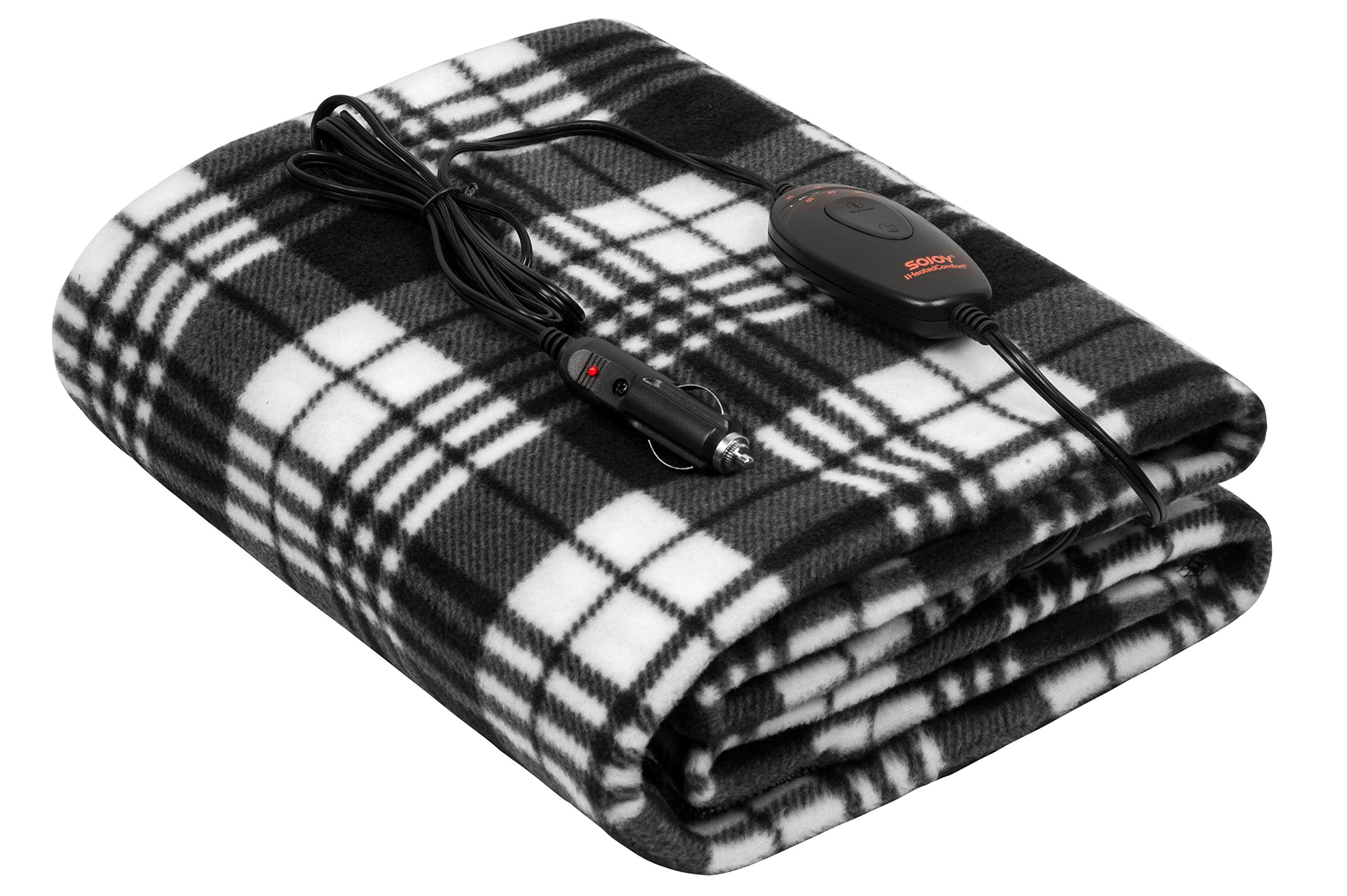 Sojoy 12V Heated Smart Multifunctional Travel Electric Blanket for Car, Truck, Boats or RV with High/Low Temp Control (60''x 40'') (Checkered Black & White) by Sojoy