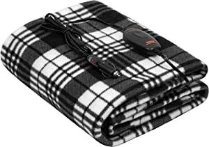 """Sojoy iHealthComfort 12V Electric Heated Travel Blanket with Intelligent Temp Controller 30/60/90 mins Timer High, Medium, Low 60""""x 40"""" (Black and White) BHO-006"""