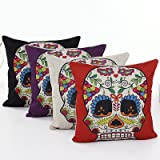 L&J.ART 4 PCS 18'' Retro Colorful Floral Mexican Day of the Dead Sugar Skull Linen Pillow Cushion Covers 4NS6