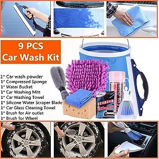 Mioke Car Wash Kit, 9 PICS Car Cleaning Tools Motocycle - Wash Mitt,Sponge,Water Absorption Towel,Microfiber Cloths,Squeegee,Brush,Water Bucket