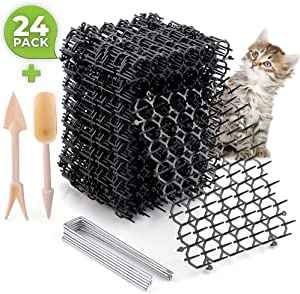 Cat Scat Spike Strips (24Pack) - Pet and Dog Deterrent Prickle Mat for Garden, Porch, Home – Effective, Non-Invasive and Safe – Easy to Install – Includes 6 Garden Pegs and 2 Wooden Gardening Tools