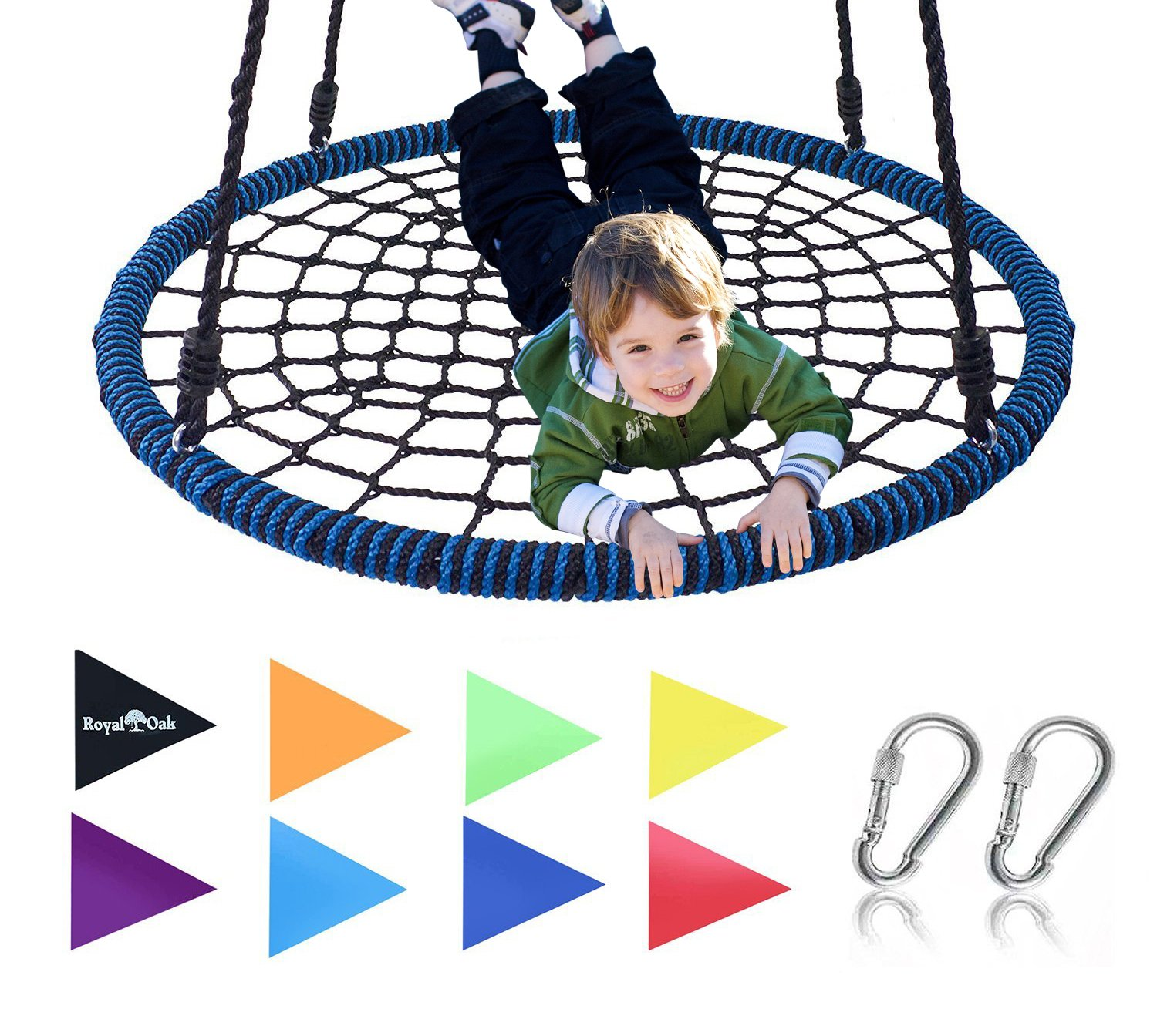 Giant 40'' Spider Web Tree Swing in Elite Blue, 600 lb Weight Capacity, Durable Steel Frame, Waterproof, Adjustable Ropes, Comes Assembled, Bonus Flag Set and 2 Carabiners, Non-Stop Fun for Kids!