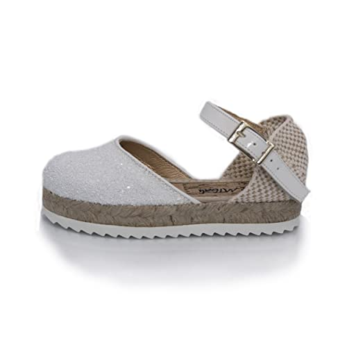 MTBALI Alpargatas Para Niña - Modelo Amanda White - 34, Blanco: Amazon.es: Zapatos y complementos