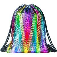 Deeplive Fashion Mermaid Sacca Magic Reversibile Sequin Zaino Glittering Dance Bag, Borsa per la Scuola, Sport all' Aria Aperta per Ragazze Donne Bambini
