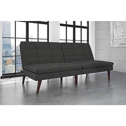 Excellent Amazon Com Tufted Pillowtop Futon Grey Linen Soft Linen Frankydiablos Diy Chair Ideas Frankydiabloscom