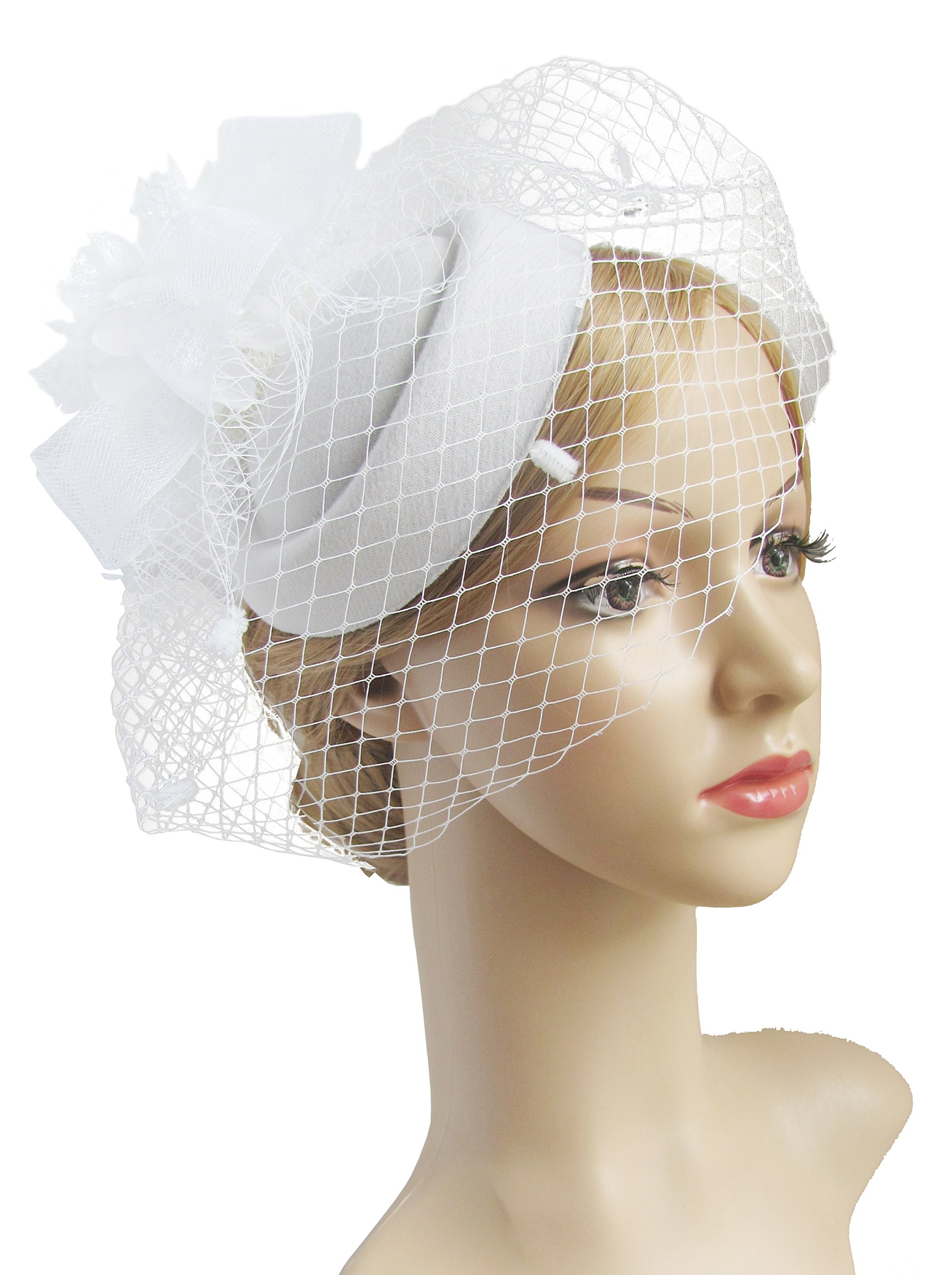 K.CLASSIC Fascinator Hair Clip Pillbox Hat Bowler Feather Flower Veil Wedding Party Hat Tea Hat (White)