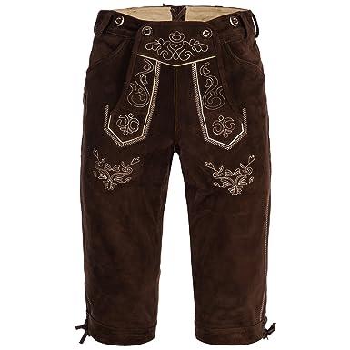 Pantalones de piel ambicionamos pantalón corto para hombre de color castaño oscuro de vacuno de ante talla 46 A 60 disponible: Amazon.es: Ropa y accesorios