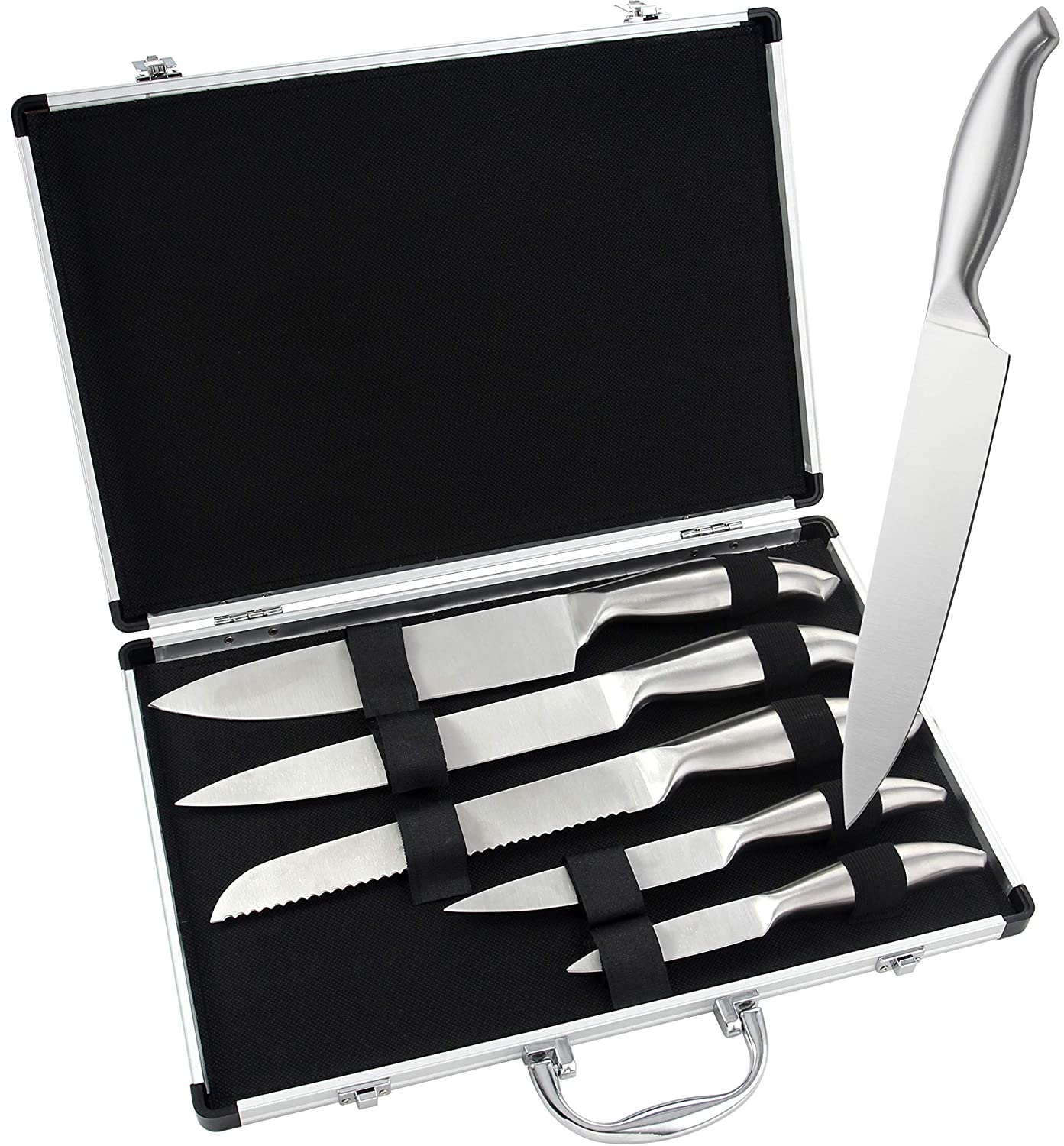 ROMANTICIST 6pc Professional Kitchen Chef Knife Set with Aluminium Case - Heavy Duty Stainless Steel Grill Cooking Knife Set for Camping - Ideal Home Gift Set for Chef Cooks