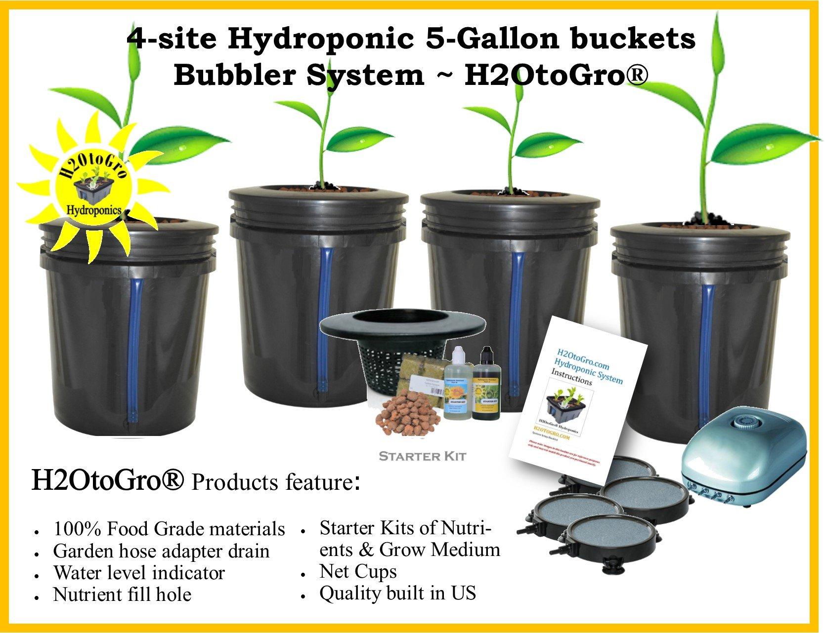 DWC 4-site Hydroponic Bucket BUBBLER Grow kit by H2OToGro (Image #1)