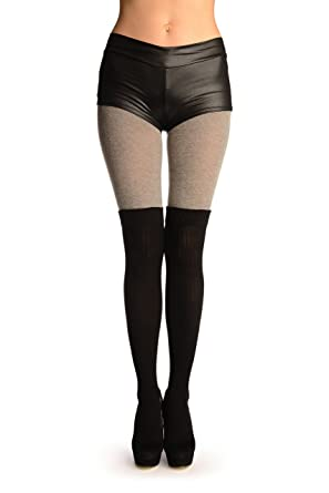 46a2060f9f3a5 Grey Cotton With Black Ribbed Faux Over The Knee (Winter) Pantyhose (Tights)