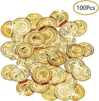 Monedas Piratas, 100 Piezas Monedas Pirata Monedas de Oro Plástico ...