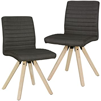 Finebuy Design Esszimmerstühle 2er Set Fb4669 Skandinavische Stühle Mit Holzbeinen Retro Stuhlset Anthrazit Küchenstühle Mit Stoff
