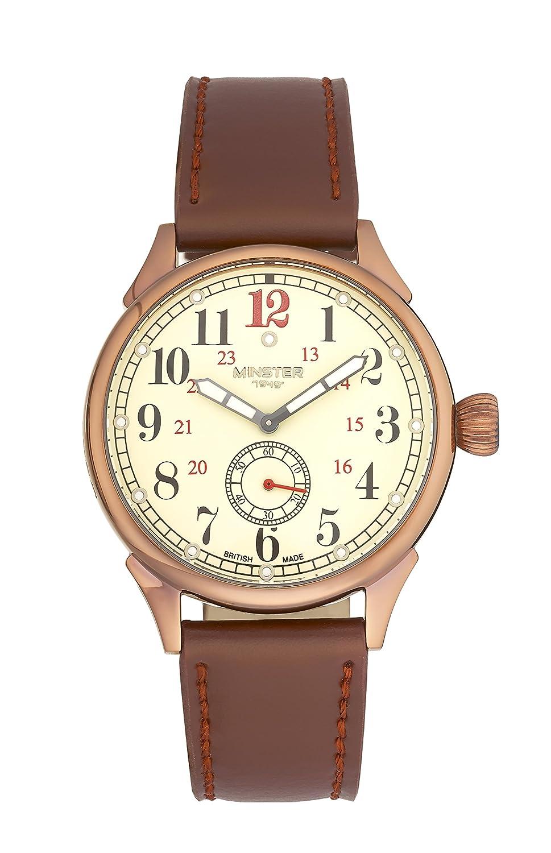 Boyland Minster 1949 Armbanduhr - KupfergehÄuse - cremefarbenes Zifferblatt - braunes Lederarmband