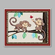 Treetop Jungle Animal Buddies Nursery Wall Art Prints (11 x14 , Monkeys)
