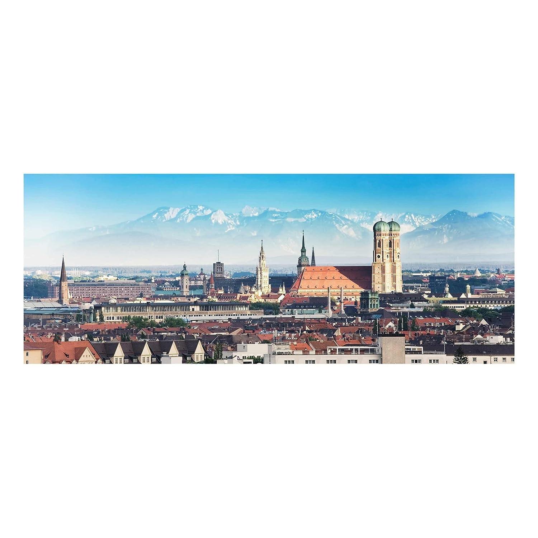 PPS. Imaging Druck auf Glas Wall Kunstdruck – München – Panorama breit, Druck auf Glas, Glas, Glas Bild, Wandbild, Glas Bild, Wandbild, Glas Wandbild, Glas-, Wandbild, Dimension H  50 cm x 125 cm