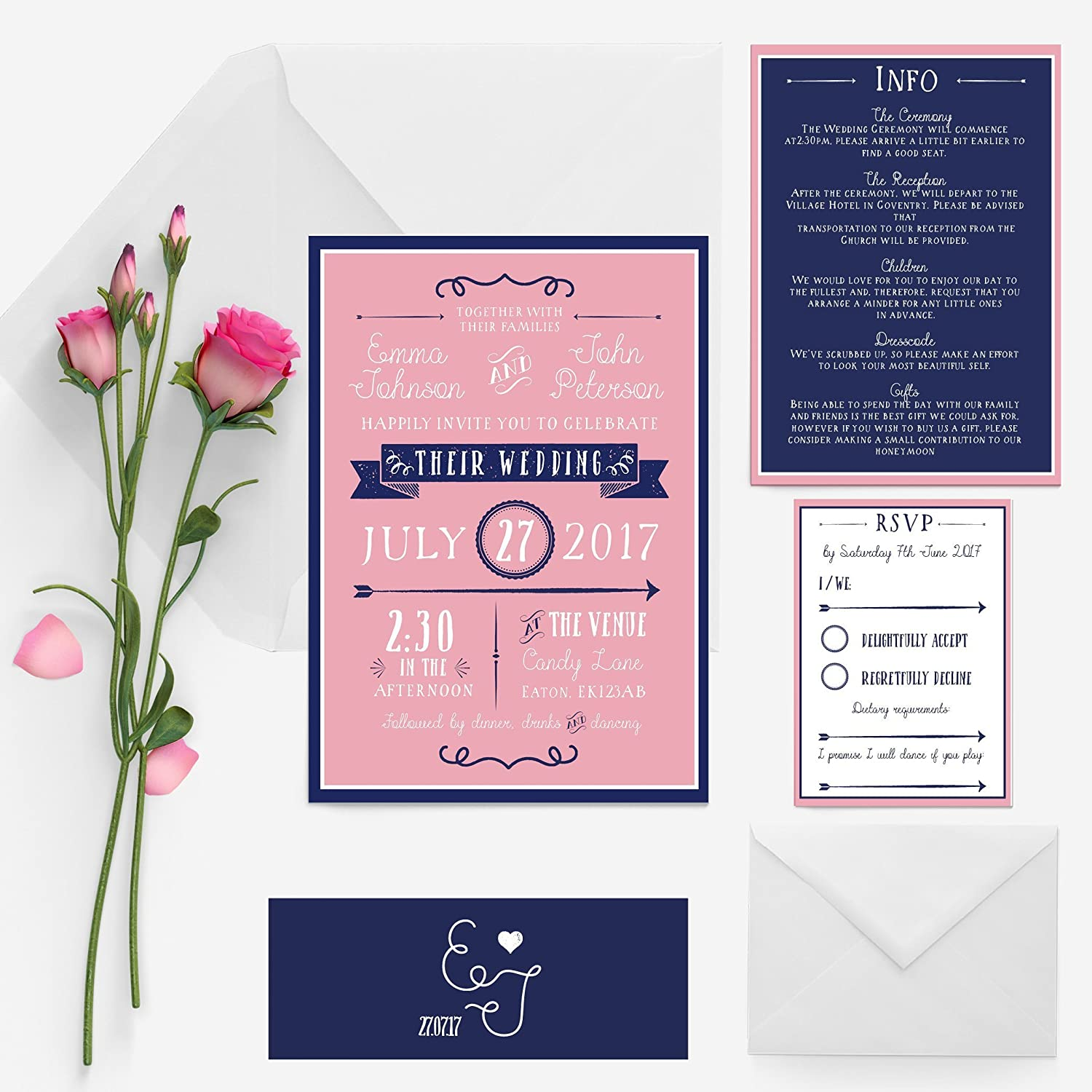Blush pink and navy blue festival ornate wedding invitation package ...