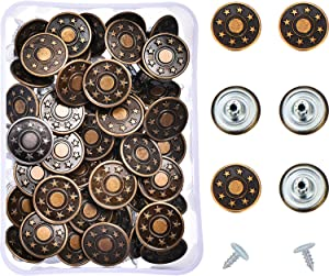 Hestya 40 Sets Jeans Buttons Metal Button Snap Buttons Replacement Kit with Rivets and Plastic Storage Box (Bronze)
