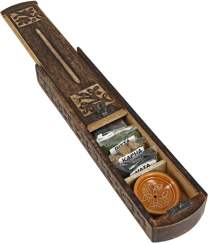 ShalinIndia Handmade Indian Wooden Incense Burner and Storage Box with Ayurveda Vata Pitta Kapha Incense & Ceramic Holder - Great Gift for Any Occasion